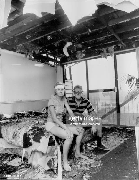 Unstairs main bedroom and back balcony that looks over the Georges river Sandy Scott and his wife Carol sit on the bed in Guttered roomThe House of...