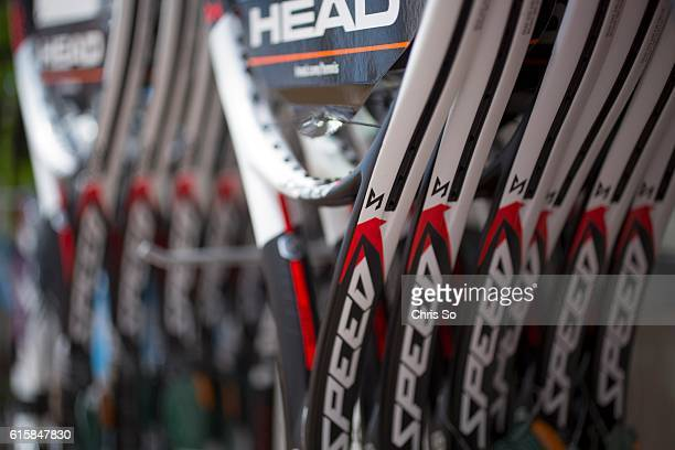 HILL ON OCTOBER 11 Unstrung HEAD tennis rackets hang on display at the soon to be opened Sporting Life in Richmond Hill Sporting Life is renown for...
