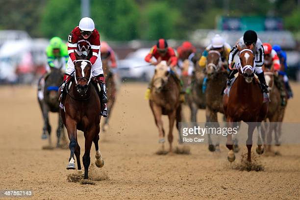 Untapable ridden by Rosie Napravnik leads the field to the finish line to win the 140th running of the Kentucky Oaks at Churchill Downs on May 2 2014...