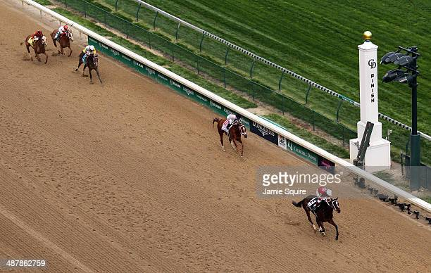 Untapable with jockey Rosie Napravnik up crosses the finish line to win the 140th Longines Kentucky Oaks at Churchill Downs on May 2 2014 in...