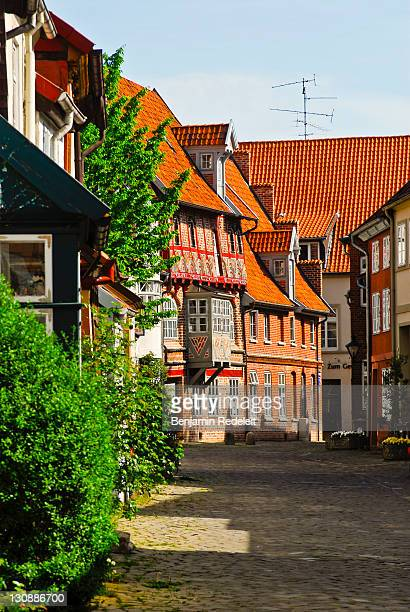 untere ohlingerstrasse in the old part of town, lueneburg, lower saxony, germany - lüneburg stock photos and pictures