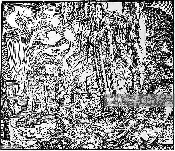 Untergang von Sodom und GomorrhaDer Herr lässt Schwefel und Feuer vomHimmel herabregnenRechts Lot mit seinen beiden TöchternHolzschnittIllustration...
