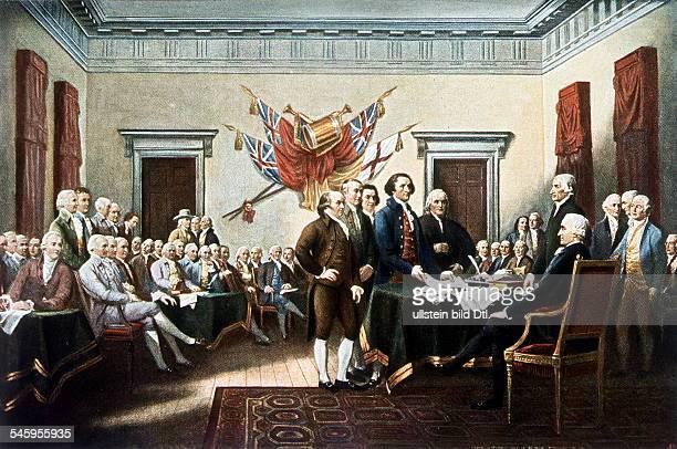 Unterzeichnung der Erklärung der Unabhängigkeit in Philadelphia am 04071776 Rund um den Tisch stehend vlnr John Adams Roger Sherman Robert Livingston...