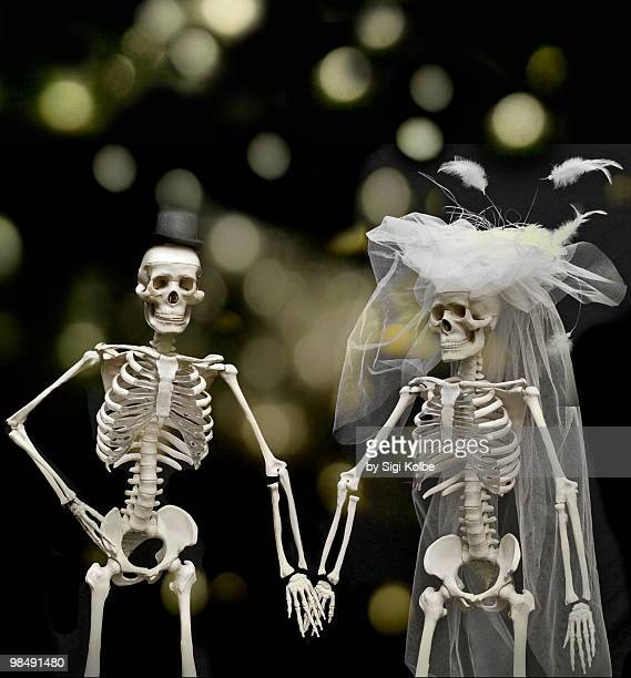 until death us do part  - funny skeleton stock photos and pictures