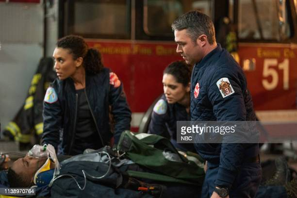 FIRE Until The Weather Breaks Episode 719 Pictured Annie Ilonzeh as Emily Foster Miranda Rae Mayo as Stella Kidd Taylor Kinney as Kelly Severide