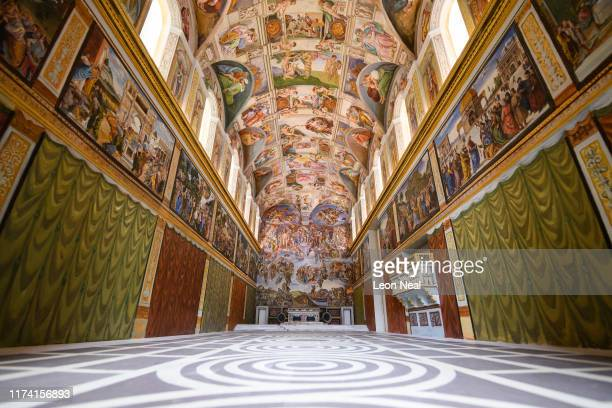 """Untitled"""", a miniature replica of the Sistine Chapel in the Vatican, created by artist Maurizio Cattelan, is seen at Blenheim Palace on September 12,..."""