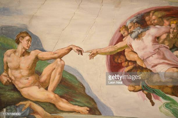 Untitled a miniature replica of the Sistine Chapel in the Vatican created by artist Maurizio Cattelan is seen at Blenheim Palace on September 12 2019...