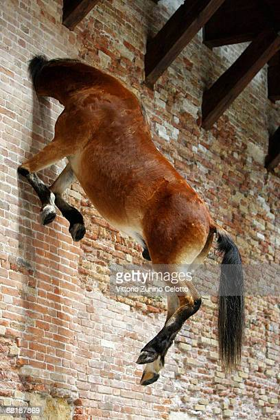 'Untitled' by Maurizio Cattelan is displayed during the press preview of the opening of the new contemporary art centre Francois Pinault Foundation...