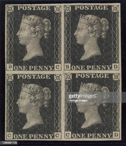 """Unused block of four """"Penny Black"""" postage stamps of Queen Victoria, issued May 6, 1840. Artist Unknown."""