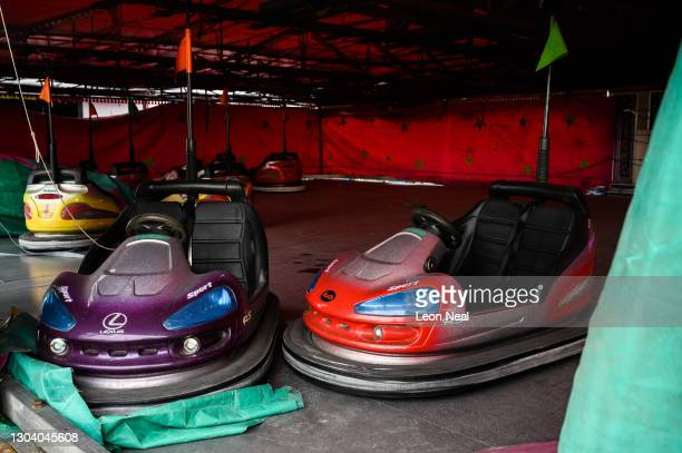 Unused fairground dodgem cars are seen at the Fantasy Island fun park as the maintenance team continue to prepare for the Summer season, on February...