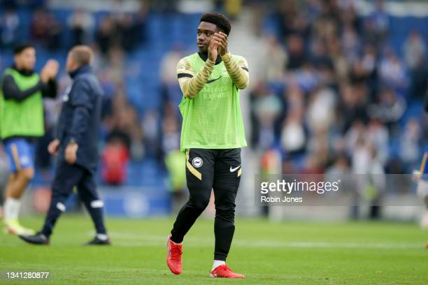 Unused sub Tariq Lamptey of Brighton & Hove Albion after his sides 2-1 win during the Premier League match between Brighton & Hove Albion and...