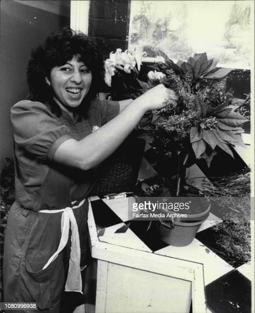 Unusual Christmas Tree Anna Perry makes a tree at Queen st Flower Shop Woollahra December 16 1983