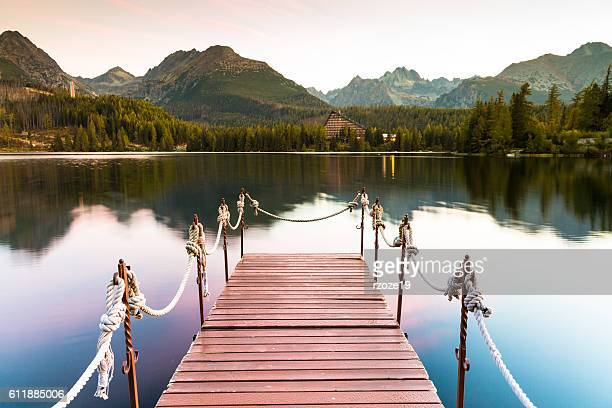 Unusual lake in the Slovakian Tatras. Famous place of rest and relaxation in the mountains.