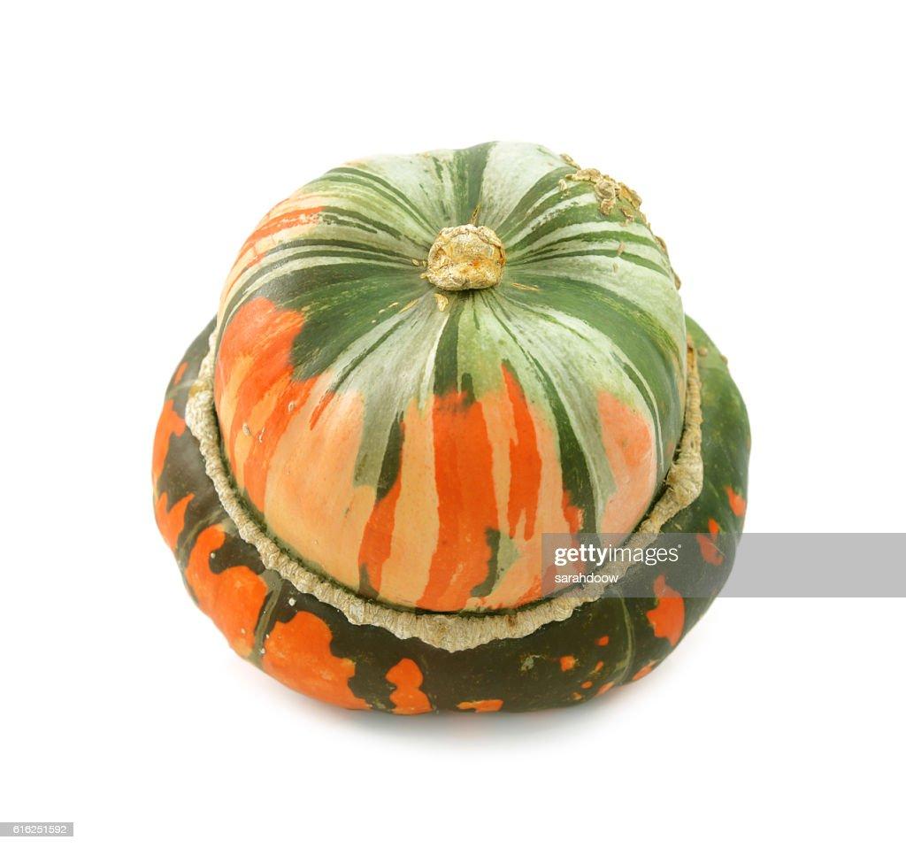 Unusual orange and green striped turban squash : Stock Photo