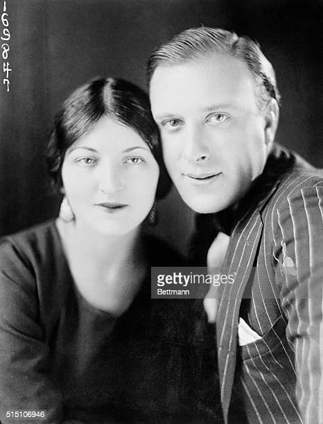 """Unusual photograph of Mr. And Mrs. Frank Mayo...The film star defends his """"Marriage of Love"""" to Dagmar Godowsky in face of investigation with..."""