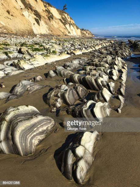 Unusual rock formations line the beach at Gaviota State Park on December 1 near Santa Barbara California Because of its close proximity to Southern...