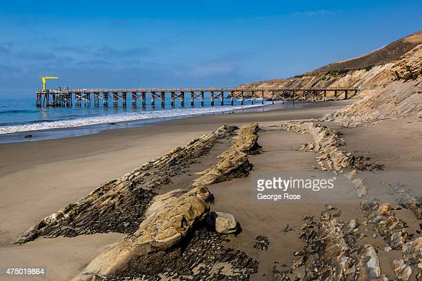 Unusual sandstone rock formations are a main feature of Gaviota State Beach as viewed on April 23 near Santa Barbara California Because of its close...