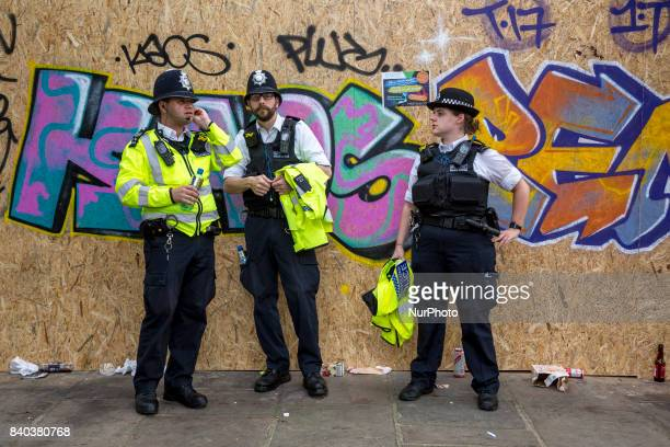 Unusual security measures are taken by Metropolitan Police to safeguard the main parade of Notting Hill Carnival London UK on August 28 2017 Big...