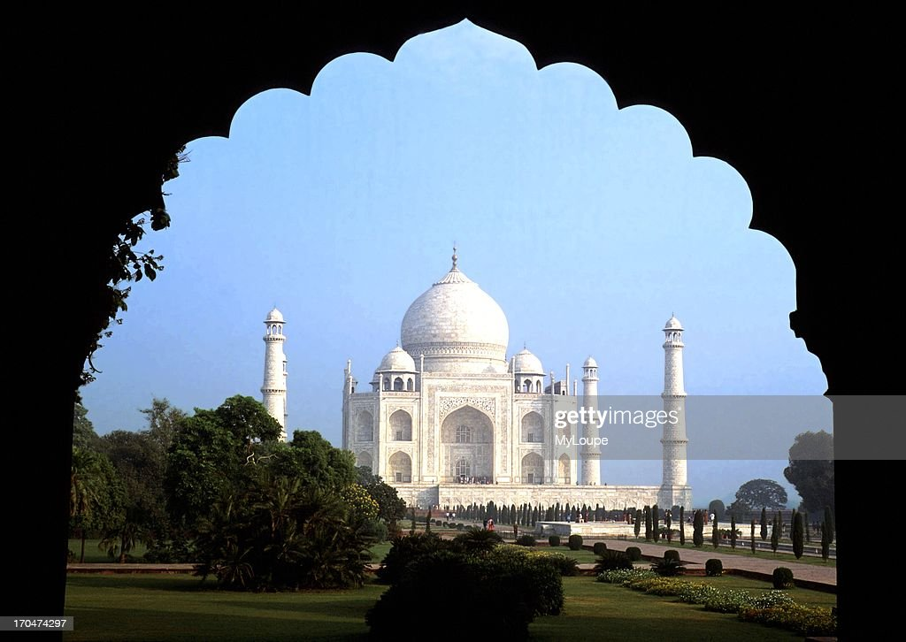 Unusual View Of Taj Mahal In Agra India Silhouetted In