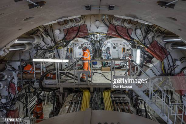Unveil their new tunnel boring machine, on May 13, 2021 in Rickmansworth, England. The 2000 tonne machine named Florence after Florence Nightingale...