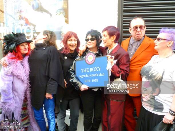 Unveiling ceremony for a plaque marking the location of punk venue The Roxy Club on Neal Street Covent Garden London 25th April 2017 LR Jane PalmGold...