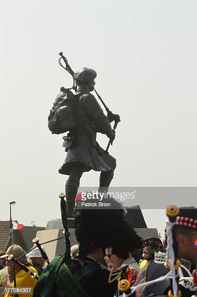Unveiling of the Bill Millin statue during the 2013 D-Day commemorations, Normandy, France.