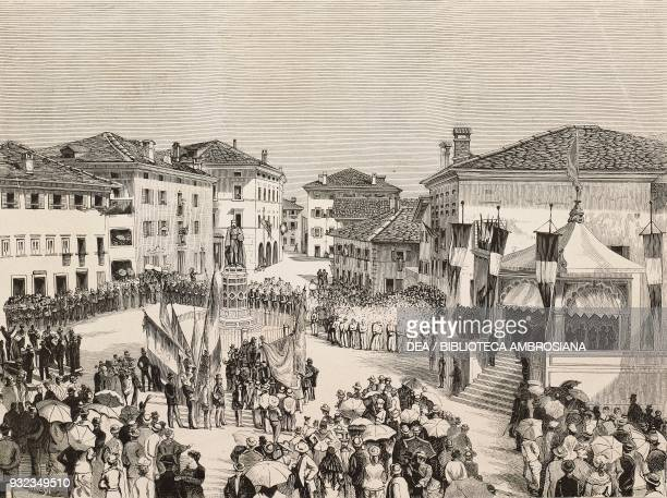 Unveiling of the monument to Titian by Antonio dal Zotto in Pieve di Cadore on 5 September 1880 Italy drawing by Edoardo Matania engraving from...