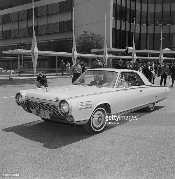 Unveiling of the new Chrysler turbinepowered automobile at the Roosevelt Raceway in Westbury New York Beginning in the fall Chrysler plans on turning...