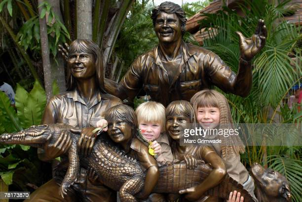 """Unveiling the memorial family statue Robert Irwin and Bindi Irwin attend """"Steve Irwin Memorial Day"""" at Australia Zoo on November 15, 2007 on the..."""