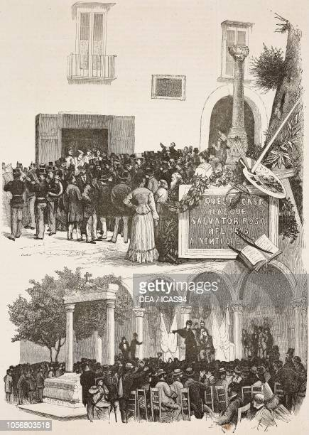 Unveiling the plaque to Salvator Rosa painter meeting against the barbarities of the war in the East Naples Italy engravings from drawings by Edoardo...