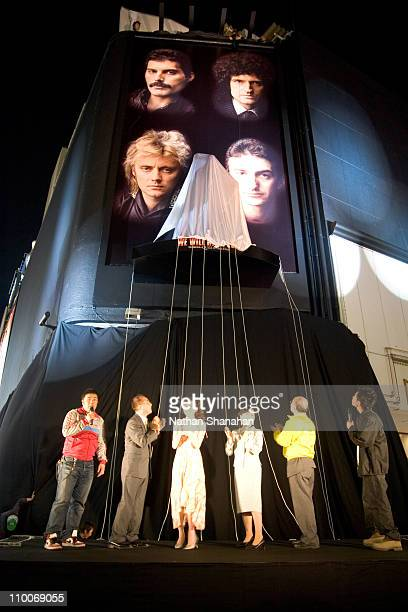 """Unveiling the statue of Freddie Mercury during """"We Will Rock You"""" Musical - Tokyo Kick-Off Event at Koma Stadium in Tokyo, Japan."""