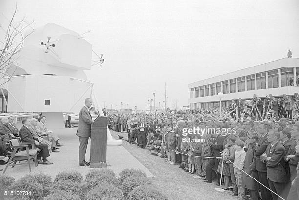 Unveils Plan for Lunar Science Institute Space Center Houston Texas President Johnson speaks to employees of the Manned Spacecraft Center in Houston...