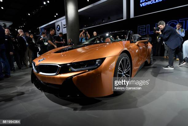 BMW unveils the BMW 2019 i8 Roadster during the auto trade show AutoMobility LA at the Los Angeles Convention Center November 29 2017 in Los Angeles...