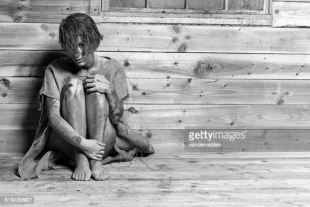 unwashed vagrant wearing sackcloth - female streaker stock pictures, royalty-free photos & images