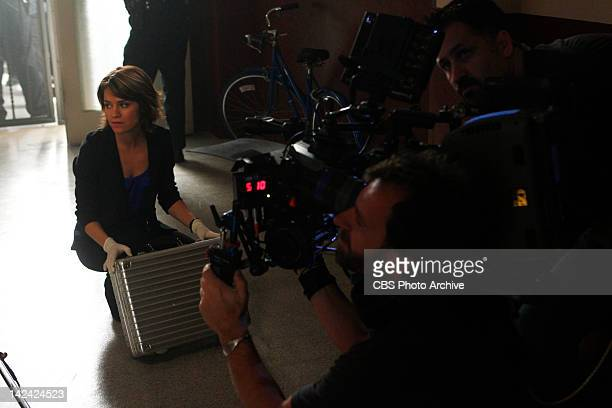 Unwrapped Anna Belknap prepares to shoot a scene on CSI NY scheduled to air Friday May 4 on the CBS Television Network