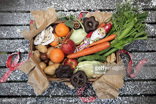 Unwrapped box of savoury and sweet christmas food