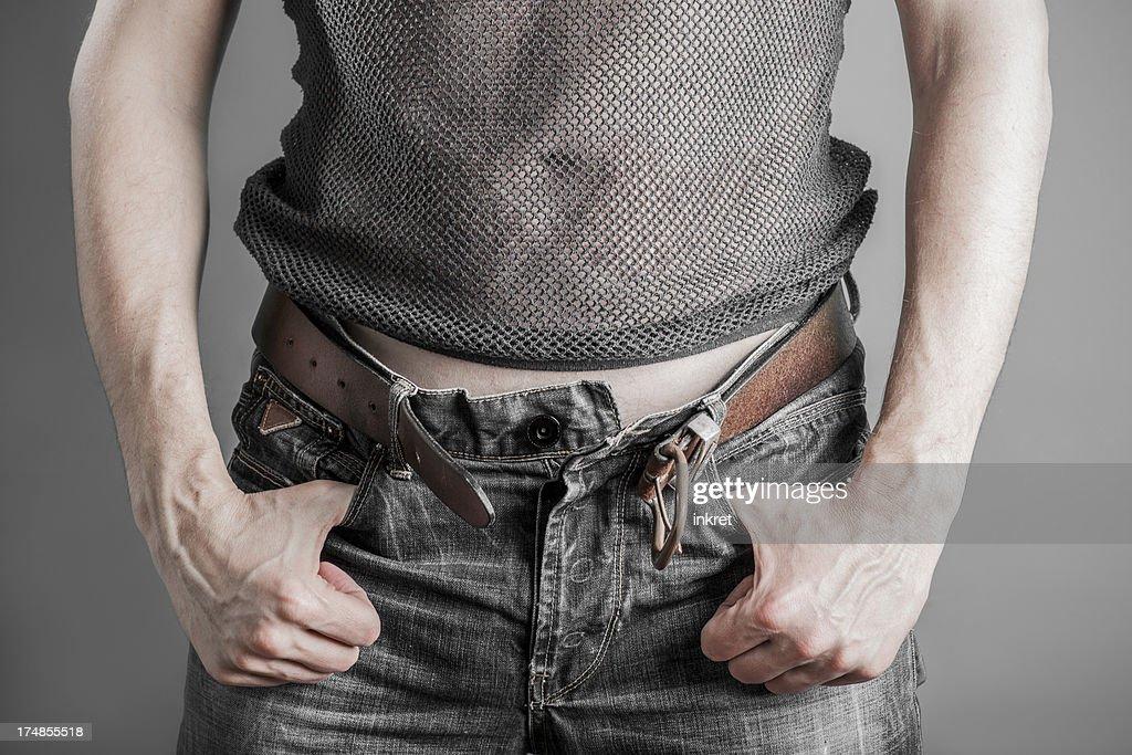 Unzipped jeans : Stock Photo