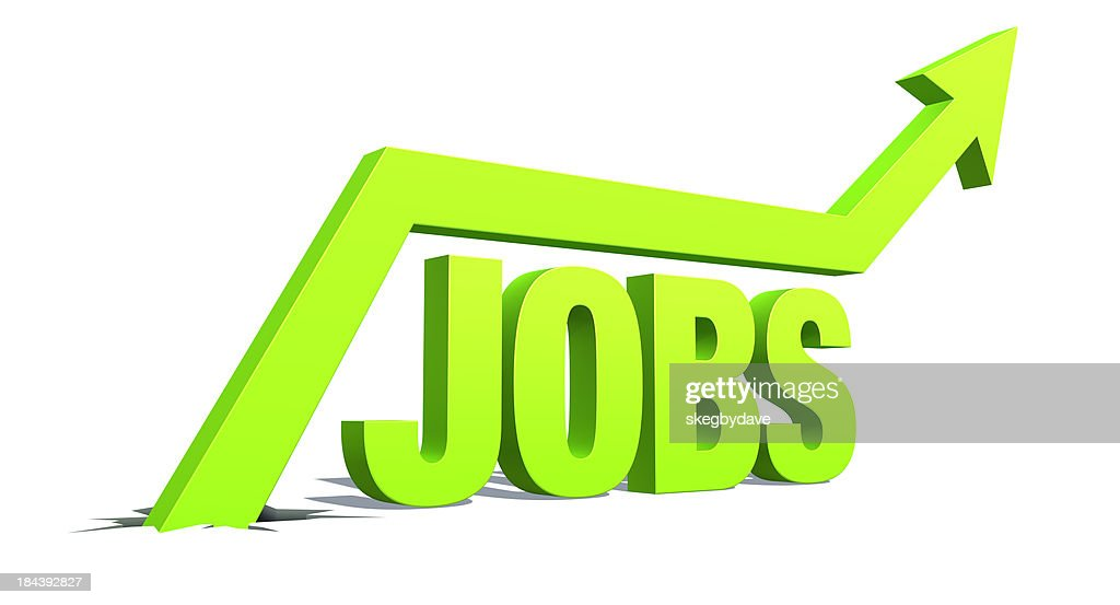 Up Arrow with word: Jobs : Stock Photo