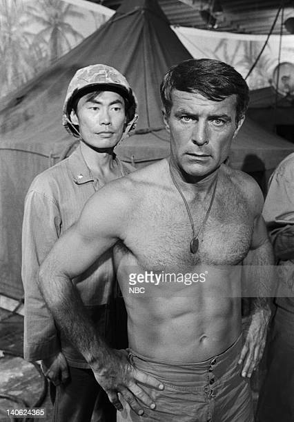 SHEEP Up For Grabs Episode 9 Aired 11/16/76 Pictured George Takei as Maj Kato Robert Conrad as Maj Greg 'Pappy' Boyington Photo by NBCU Photo Bank
