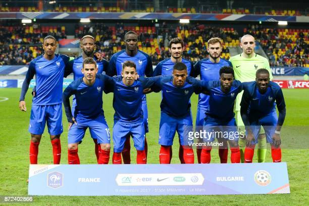 Abdou Diallo Moussa Dembele Mouctar Diakhaby Martin Terrier Lucas Tousart and Paul Bernardoni of France Down from left to right Lucas Hernandez...