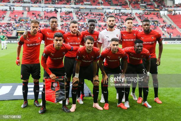 Damien Da Silva Mexer Jeremy Gelin Ismaila Sarr Tomas Koubek Rami Bensebaini and Jordan Siebatcheu of Rennes Down from left to right Benjamin Andre...