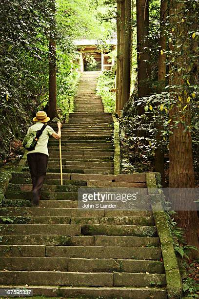 Up the steps to Monju Temple on the Kunisaki Peninsula of Kyushu island Kunisaki and this temple in particular has some of Japan's oldest Buddhist...