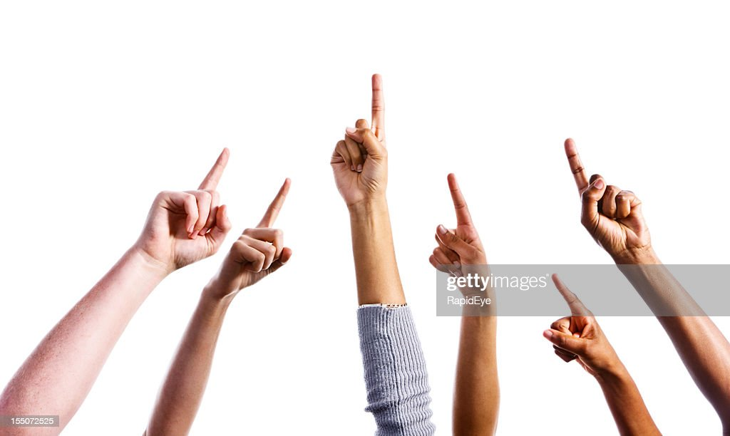 Up there! Six mixed hands all pointing upwards : Stock Photo