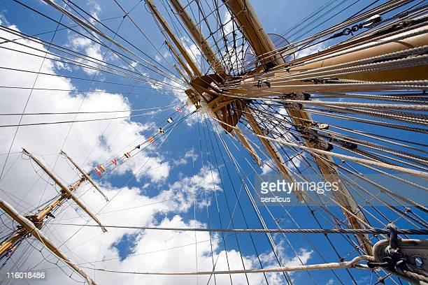 up towards the sky - old frigate stock photos and pictures