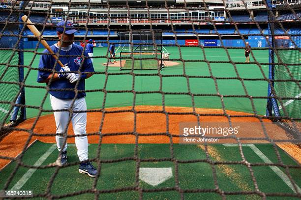 Toronto Blue Jays Catcher Ken Huckaby steps into the batting cage to take batting practice before the last game before the MLB strike deadline versus...