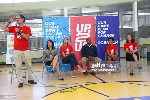 Up2Us's Paul Caccamo Department of Recreation and Parks East District Supervisor Veronica Rodriguez former professional volleyball player Gabrielle...