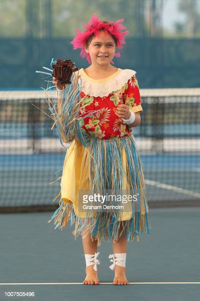 Upai Purri peform during the National Indigenous Tennis Carnival Launch at Darwin International Tennis Centre on July 30 2018 in Darwin Australia