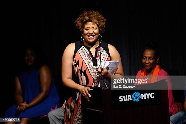 ASPiRE Sr Trade and Affiliate Marketing Tracey Tooks speaks onstage at the 2014 ABFF_ UP TV Live Table Read at SVA Theater on June 20 2014 in New...