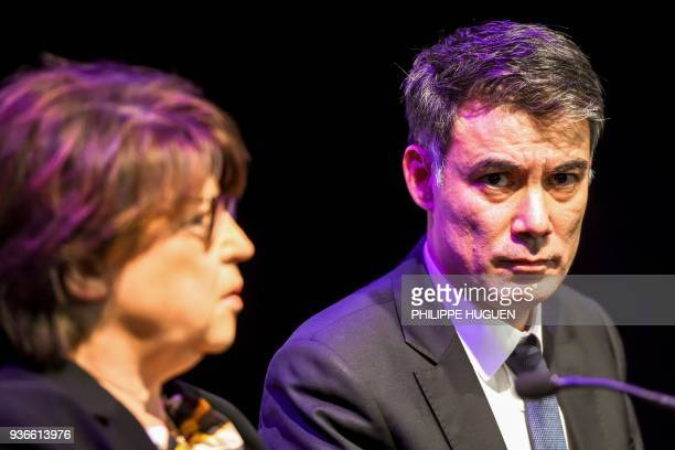 Upcoming General Secretary of the French Socialist Party Olivier Faure leads a meeting flanked by PS mayor of Lille Martine Aubry on March 22 2018 in...