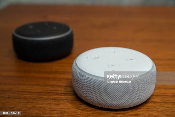 Updated 'Echo Dots' are pictured at Amazon Headquarters following a launch event on September 20 2018 in Seattle Washington Amazon launched more than...